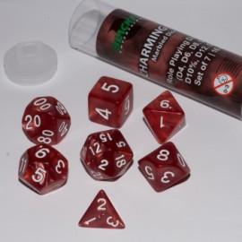 Zestaw 7 różnych kostek (16 mm) - Uroczy Czerwony