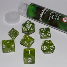 Zestaw 7 różnych kostek (16 mm) - Emeraldowy Zielony