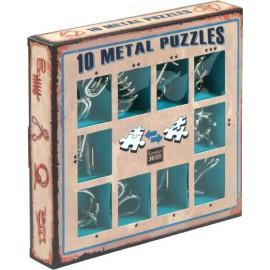 10 metalowych łamigłówek - zestaw niebieski