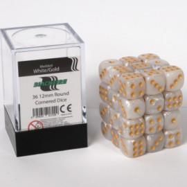 Zestaw 36 kostek K6 (12 mm) - marmurowe białe złoto