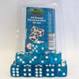 Zestaw 15 kostek K6 (16 mm) - brokatowy niebieski
