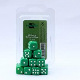 Zestaw 15 kostek K6 (16 mm) - zielone