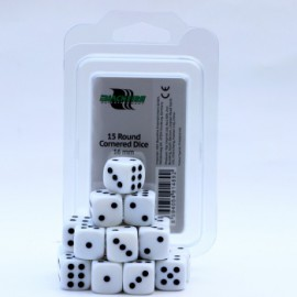Zestaw 15 kostek K6 (16 mm) - białe