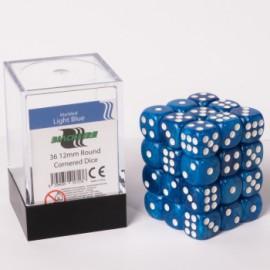Zestaw 36 kostek K6 (12 mm) - marmurowe niebieskie