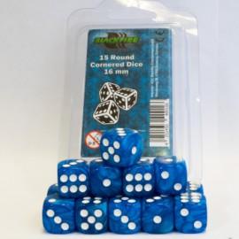 Zestaw 15 kostek K6 (16 mm) - marmurowy jasny niebieski