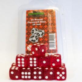 Zestaw 15 kostek K6 (16 mm) - brokatowy czerwony