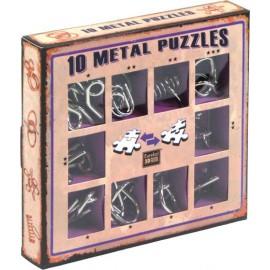10 metalowych łamigłówek - zestaw fioletowy