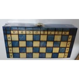 Szachy drewniane Filipek - niebieskie