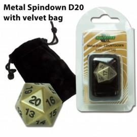 Metalowy licznik życia K20 - antyczne złoto (20 mm) + sakiewka