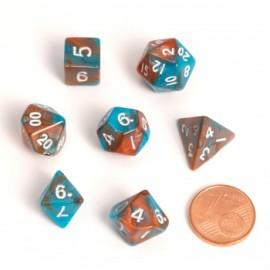 Zestaw 7 różnych kostek - Fairy Dice RPG Set - BiColor pomarańczowo-niebieskie