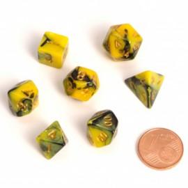 Zestaw 7 różnych kostek - Fairy Dice RPG Set - BiColor żółto-czarne