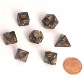 Zestaw 7 różnych kostek - Fairy Dice RPG Set - BiColor marmurowe czarne
