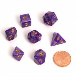 Zestaw 7 różnych kostek - Fairy Dice RPG Set - BiColor marmurowe fioletowe