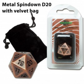 Metalowa kość K20 - antyczna miedź (20 mm) + sakiewka