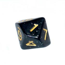 Kość Rebel K10 - brokatowa czarna ze złotymi cyframi
