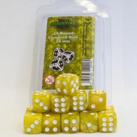 Zestaw 15 kostek K6 (16 mm) - marmurowy żółty