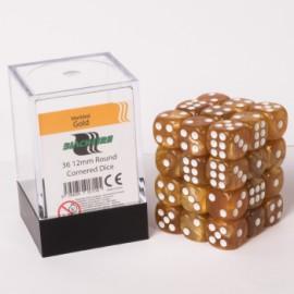 Zestaw 36 kostek K6 (12 mm) - marmurowe złoto
