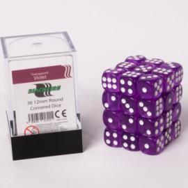 Zestaw 36 kostek K6 (12 mm) - transparentne fioletowe