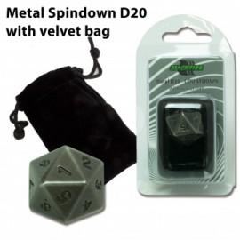 Metalowy licznik życia K20 - antyczne srebro (20 mm) + sakiewka