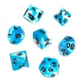 Zestaw kości REBEL RPG - Dwukolorowe - Błękitno-białe