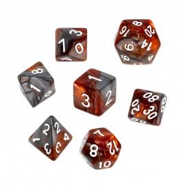 Zestaw kości REBEL RPG - Dwukolorowe - Brązowo-szare