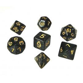 Zestaw kości REBEL RPG - Brokatowe - Czarne ze złotymi cyframi