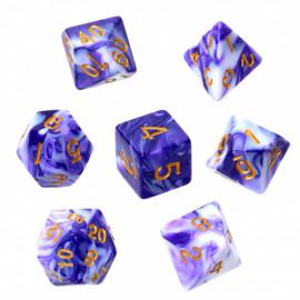 Komplet kości REBEL RPG - Dwukolorowe - Purpurowo-białe (złote cyfry)