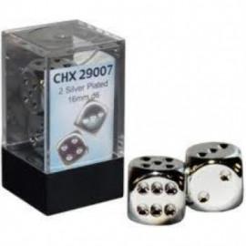 Zestaw kości Chessex - Silver-Plated Metallic 16 mm
