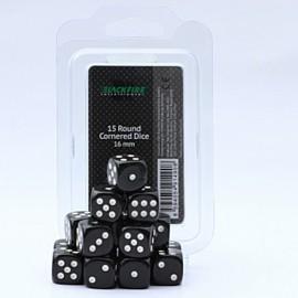 Zestaw 15 kostek K6 (16 mm) - czarne