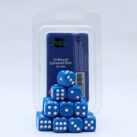 Zestaw 15 kostek K6 (16 mm) - niebieskie