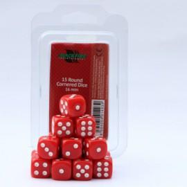 Zestaw 15 kostek K6 (16 mm) - czerwone