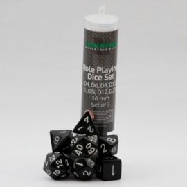 Zestaw 7 różnych kostek (16 mm) - czarne